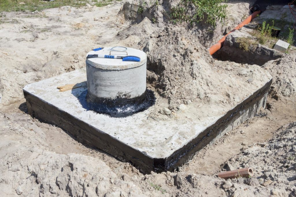 a concrete septic with sealant