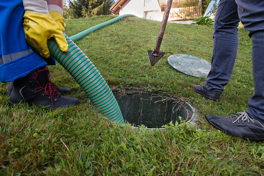 cleaning sludge from septic system.